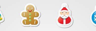 Set di icone rappresentanti il Natale