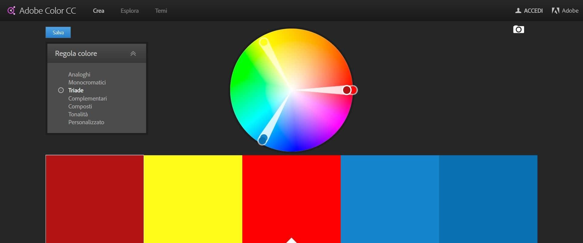palette colori adobe