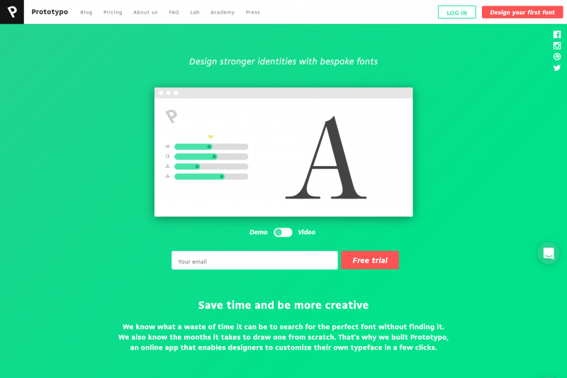 Creare font personalizzati con Prototypo